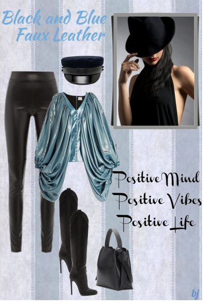 Black and Blue Faux Leather- Fashion set