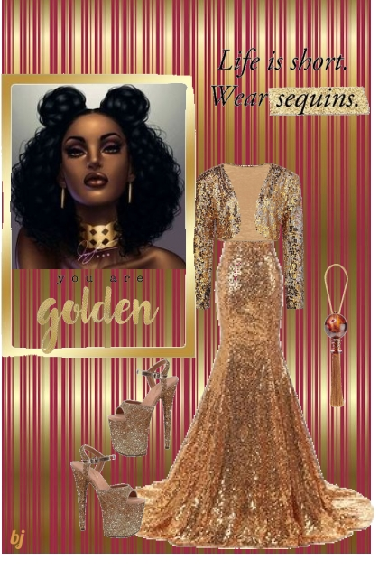 Life is Golden with Sequins- Fashion set