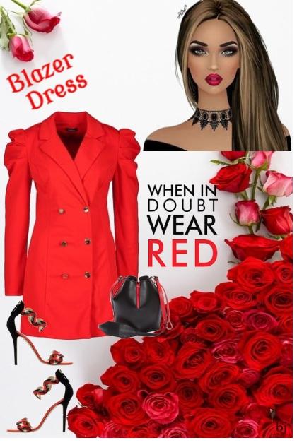 When in Doubt Wear a Red Blazer Dress