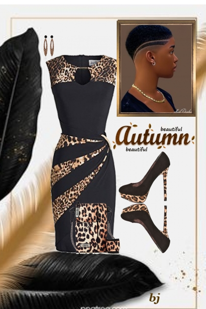 Little Black Dress with Animal Print