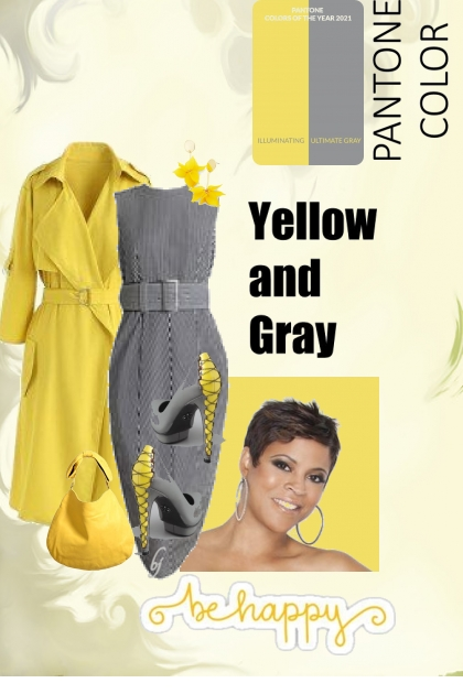 Be Happy--Yellow and Gray