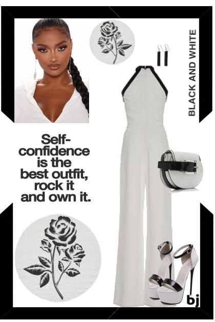 White Jumpsuit with Black Trim