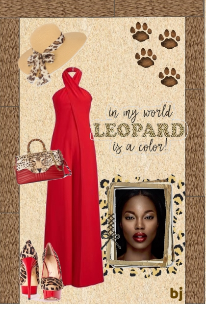 Red Jumpsuit with Leopard Accessories