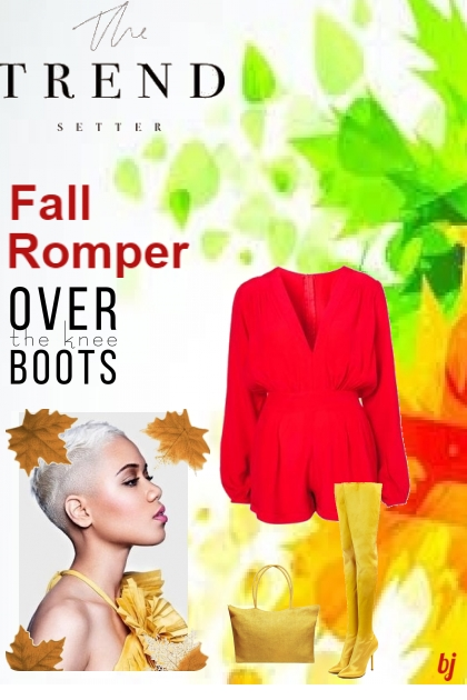 Fall Romper--Over the Knee Boots