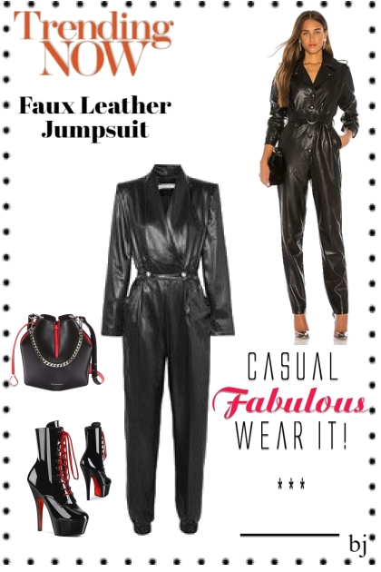 Trending Now--Faux Leather Jumpsuit