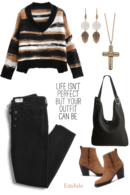 Outfit in Black, Brown and White