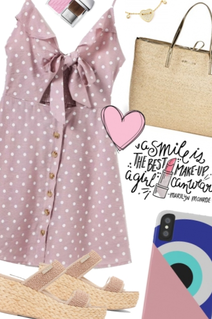 OOTD Pink Polka dot Dress