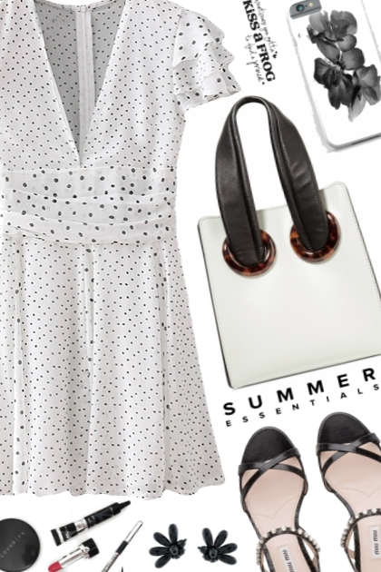 OOTD White polka dot dress