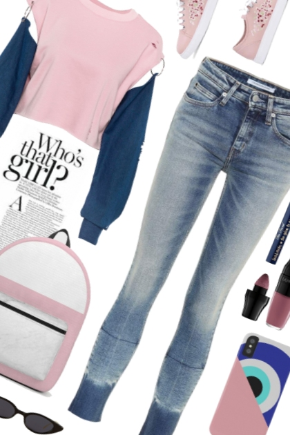 OOTD Pink blue snappy casual- Fashion set