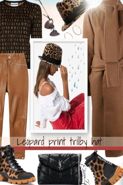 Leopard print trilby hat
