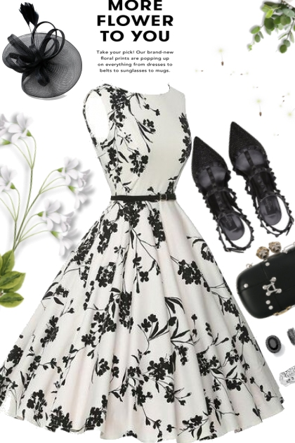 Flowery Black and White Dress