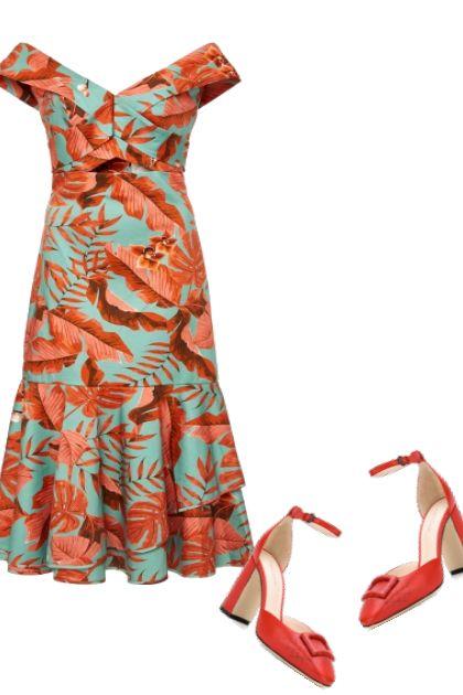 Bright Foliage Print Dress- Fashion set