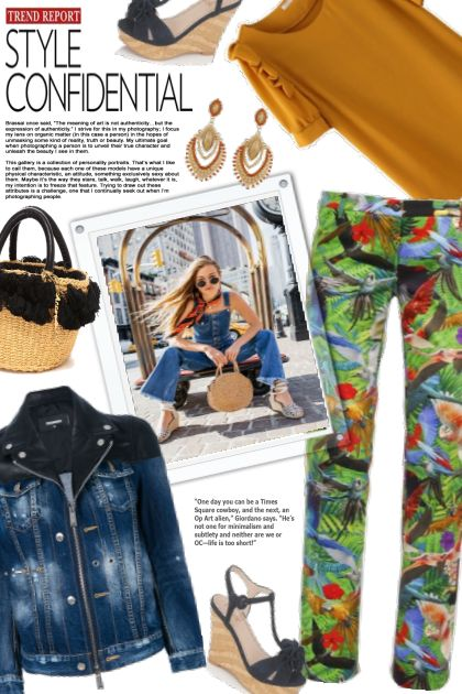 Style Confidential ~ Denim Jacket & Tropical Pants- Fashion set