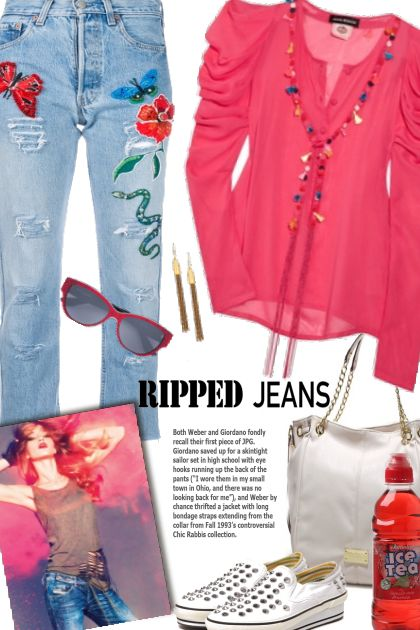 Embroidered Ripped Jeans- コーディネート