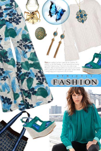 Alexis Foliage Palazzo Pants- Fashion set