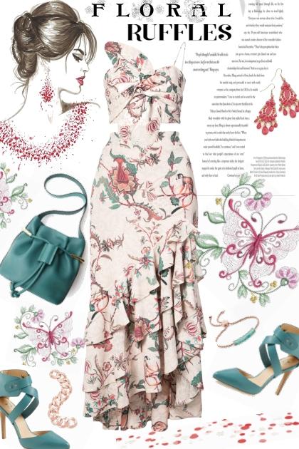 PATBO Floral Print Maxi Skirt/Bustier Combo- Fashion set