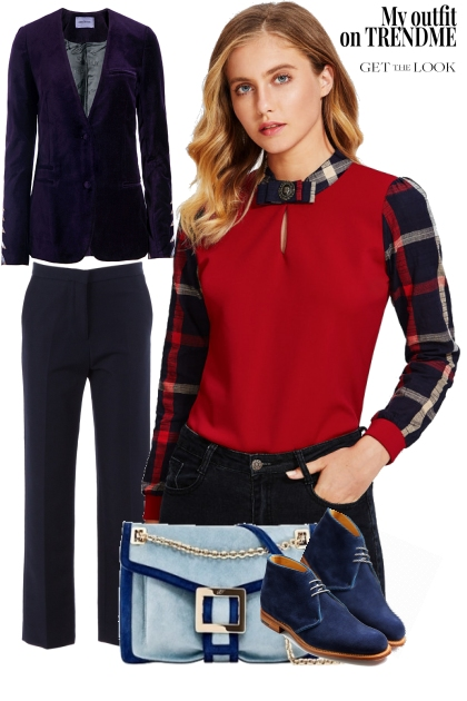 ootd: red and navy