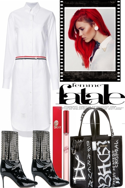 RED HAIR, THE LOOK IS JUST BLACH AND WHITE