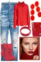 Jeans with red.
