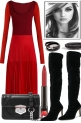 LADY IN RED, BUT THE BOOTS ARE BLACK