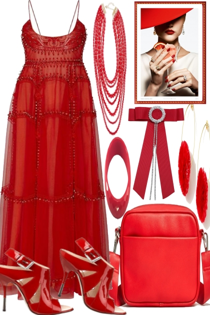 THE LADY WEARS RED.