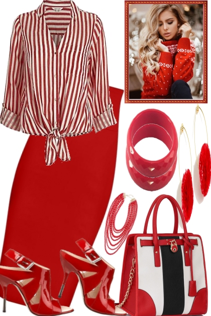 ,BLACK AND WHITE AND RED- Fashion set