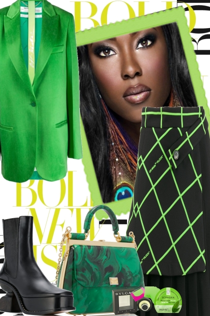 GREEN AND BLACK, OCTOBER- Fashion set