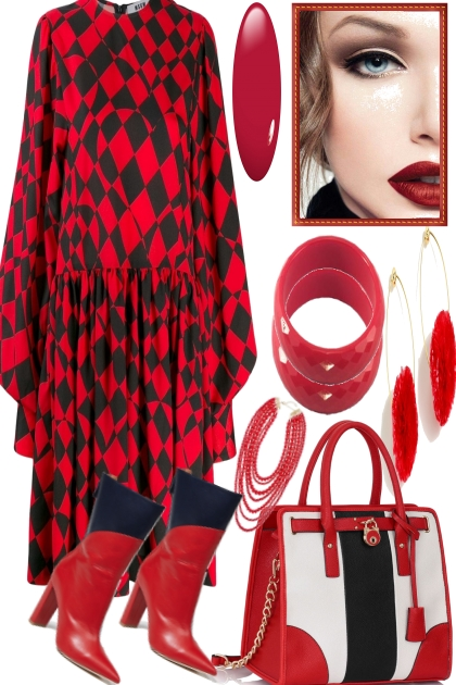BLACK WITH RED- Fashion set