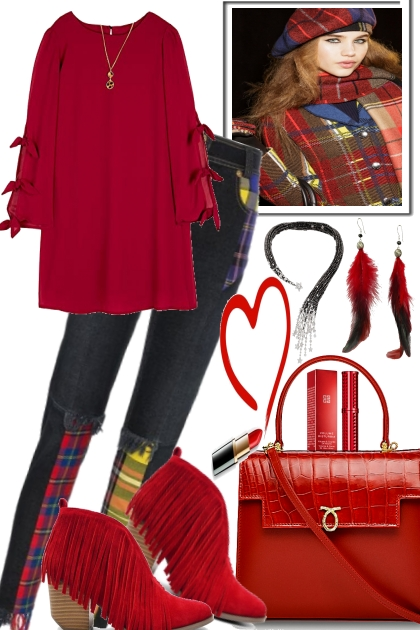 SOME PLAIDS AND RED- Fashion set