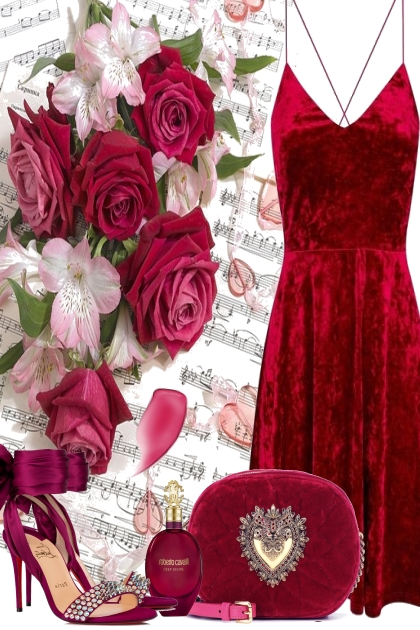 RED ROSES AND SPRING FLOWERS