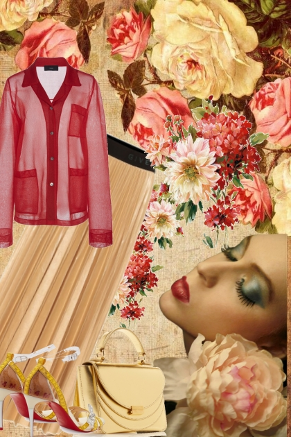 RED ROSES AND BEIGE