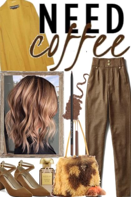 ,..-NEED COFFEE- Fashion set