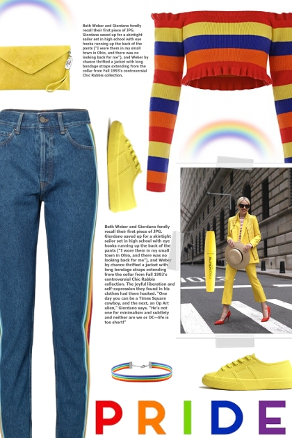 How to wear Rainbow Striped High Rise Jeans!