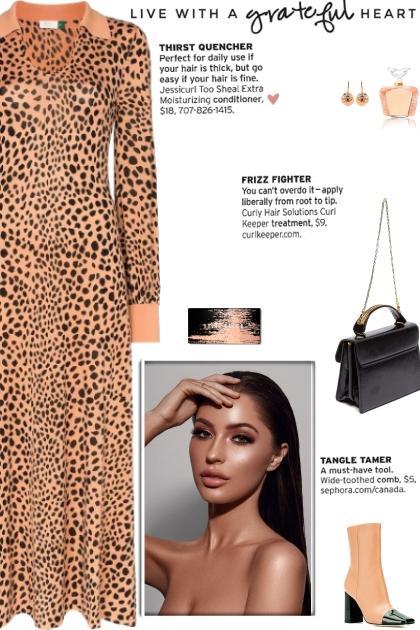 How to wear Leopard Print Cuff Sleeve Midi Dress!- Combinaciónde moda