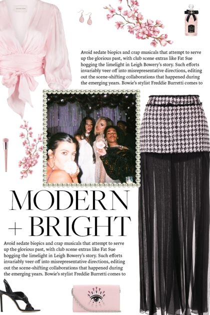 How to wear a Houndstooth Sheer Pleats Midi Skirt!