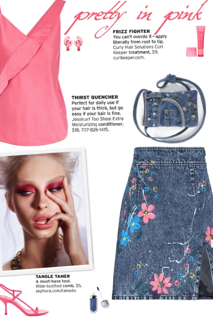 How to wear a Floral Print Denim Mini Skirt!
