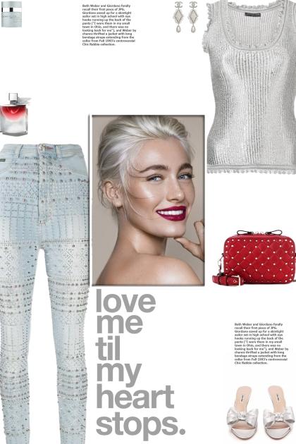 How to wear a High Waist Embellished Denim Jeans!
