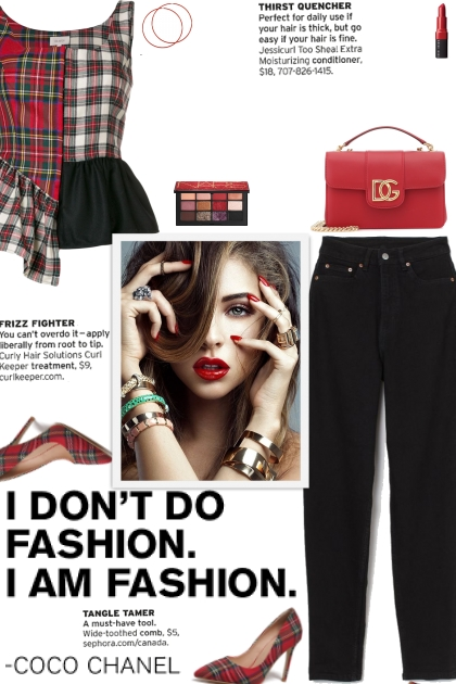 How to wear a Patchwork Plaid Frill Trim Top!