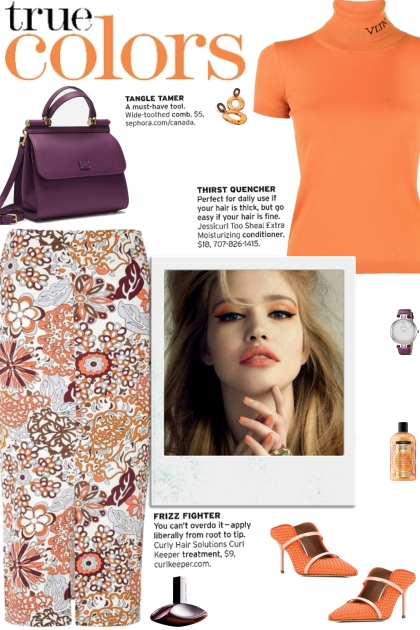 How to wear a Floral Print Front Slit Pencil Skirt