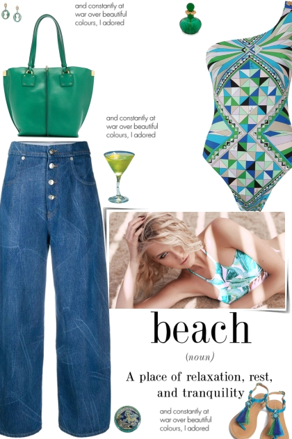 How to wear One-Shoulder Tropical Print Swimsuit!