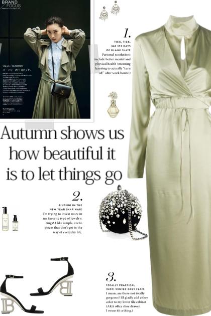 How to wear a Silk Blend Long Sleeve Midi Dress!