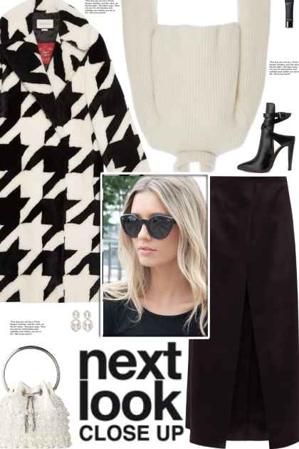 How to wear a Houndstooth Shearling Faux Fur Coat!
