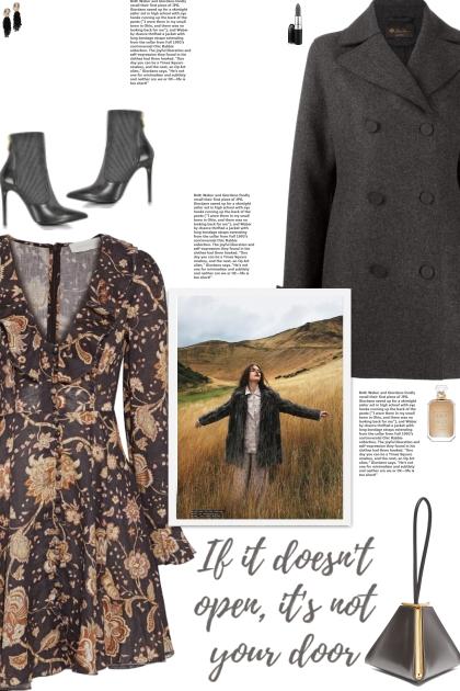 How to wear a Ruffle-Trimmed Floral V-Neck Dress!- Modna kombinacija