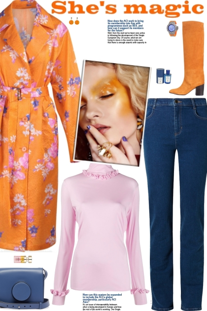 How to wear a Floral Print Silk Belted Coat!- Modna kombinacija