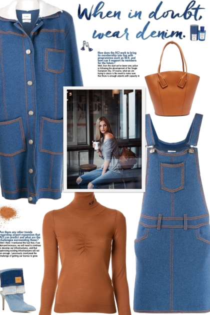 How to wear a Denim- Cashmere Pinafore Dress!