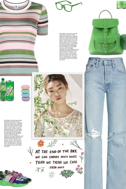 How to wear a Multicolor Striped Fitted Top!
