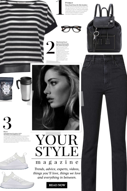 How to wear a Striped Oversized Two-Toned T-shirt!- 搭配