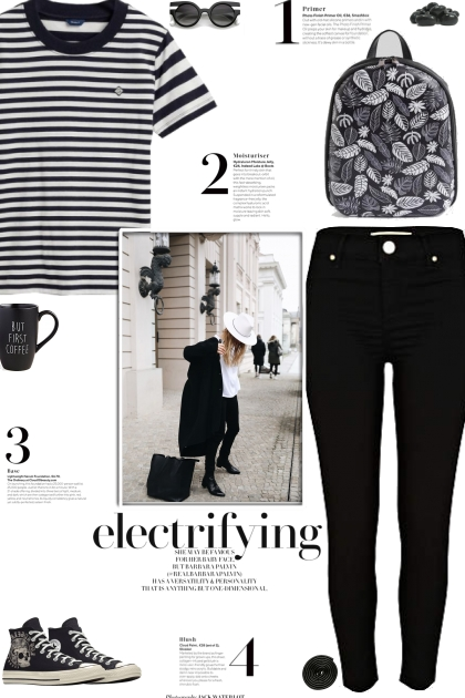 How to wear a Striped Monotone T-Shirt!