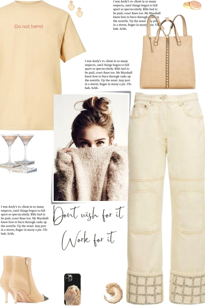 How to wear Logo Print Hem Denim Jeans!