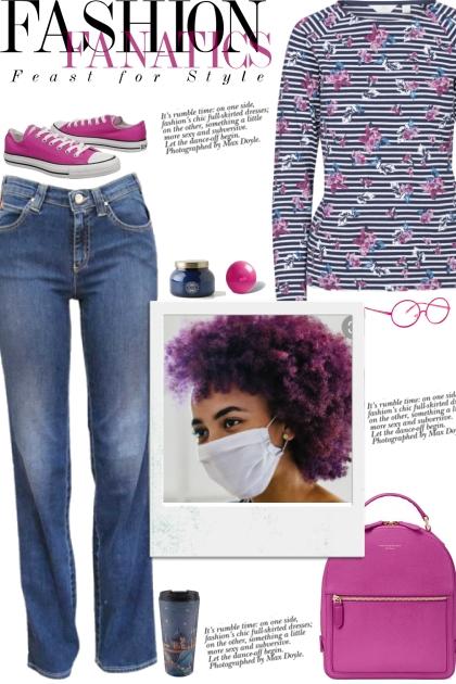 How to wear a Stripe Print Cotton Knit T-Shirt!